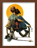 """Little Spooners"" or ""Sunset"", April 24,1926 Framed Giclee Print by Norman Rockwell"