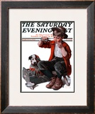 """Sick Puppy"" Saturday Evening Post Cover, March 10,1923 Framed Giclee Print by Norman Rockwell"