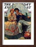 """Yarn Spinner"" Saturday Evening Post Cover, November 8,1930 Framed Giclee Print by Norman Rockwell"