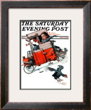 """Look Out Below"" or ""Downhill Daring"" Saturday Evening Post Cover, January 9,1926 Framed Giclee Print by Norman Rockwell"
