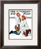 """Letter Sweater"" (boy & girl) Saturday Evening Post Cover, November 19,1938 Framed Giclee Print by Norman Rockwell"