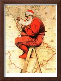 """Santa at the Map"", December 16,1939 Framed Giclee Print by Norman Rockwell"