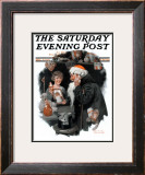 """Playing Santa"" Saturday Evening Post Cover, December 9,1916 Framed Giclee Print by Norman Rockwell"