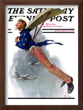 """Flying Uncle Sam"" Saturday Evening Post Cover, January 21,1928 Framed Giclee Print by Norman Rockwell"