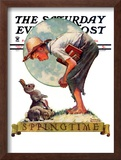 """Springtime, 1935 boy with bunny"" Saturday Evening Post Cover, April 27,1935 Framed Giclee Print by Norman Rockwell"