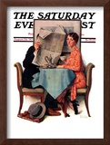 """""""Breakfast Table"""" or """"Behind the Newspaper"""" Saturday Evening Post Cover, August 23,1930 Framed Giclee Print by Norman Rockwell"""