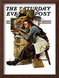 """Law Student"" Saturday Evening Post Cover, February 19,1927 Framed Giclee Print by Norman Rockwell"