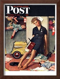 """Santa's Helper"" Saturday Evening Post Cover, December 27,1947 Framed Giclee Print by Norman Rockwell"