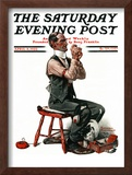 """Threading the Needle"" Saturday Evening Post Cover, April 8,1922 Framed Giclee Print by Norman Rockwell"