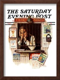 """Ticket Agent"" Saturday Evening Post Cover, April 24,1937 Framed Giclee Print by Norman Rockwell"