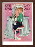 """Boy Reading his Sister's Diary"" Saturday Evening Post Cover, March 21,1942 Framed Giclee Print by Norman Rockwell"