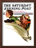 """Exhilaration"" Saturday Evening Post Cover, July 13,1935 Framed Giclee Print by Norman Rockwell"