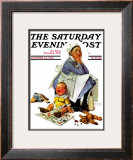 """Exasperated Nanny"" Saturday Evening Post Cover, October 24,1936 Framed Giclee Print by Norman Rockwell"