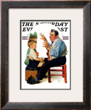 """""""Magician"""" or """"Card Tricks"""" Saturday Evening Post Cover, March 22,1930 Framed Giclee Print by Norman Rockwell"""