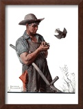 """Farmer and the Bird"" or ""Harvest Time"", August 18,1923 Framed Giclee Print by Norman Rockwell"