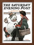 """Gramps and the Snowman"" Saturday Evening Post Cover, December 20,1919 Framed Giclee Print by Norman Rockwell"