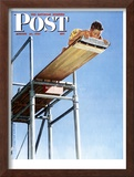 """Boy on High Dive"" Saturday Evening Post Cover, August 16,1947 Framed Giclee Print by Norman Rockwell"