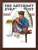 """Missing the Dance"" Saturday Evening Post Cover, January 23,1937 Framed Giclee Print by Norman Rockwell"