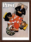 """Bridge Game"" or ""Playing Cards"" Saturday Evening Post Cover, May 15,1948 Framed Giclee Print by Norman Rockwell"