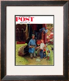 """Construction Crew"" Saturday Evening Post Cover, August 21,1954 Framed Giclee Print by Norman Rockwell"