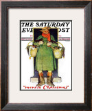 """Merrie Christmas"" Saturday Evening Post Cover, December 10,1932 Framed Giclee Print by Norman Rockwell"
