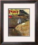 """Swimming Hole"" Saturday Evening Post Cover, August 11,1945 Framed Giclee Print by Norman Rockwell"