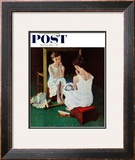 """Girl at the Mirror"" Saturday Evening Post Cover, March 6,1954 Framed Giclee Print by Norman Rockwell"