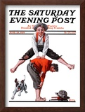 """Leapfrog"" Saturday Evening Post Cover, June 28,1919 Framed Giclee Print by Norman Rockwell"