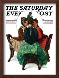 &quot;Three Gossips&quot; Saturday Evening Post Cover, January 12,1929 Framed Giclee Print by Norman Rockwell