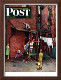 """""""Homecoming G.I."""" Saturday Evening Post Cover, May 26,1945 Framed Giclee Print by Norman Rockwell"""