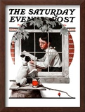"""""""Dog Outside"""" or """"Patient Friend"""" Saturday Evening Post Cover, June 10,1922 Framed Giclee Print by Norman Rockwell"""
