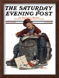 """Pen Pals"" Saturday Evening Post Cover, January 17,1920 Framed Giclee Print by Norman Rockwell"