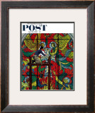 """Repairing Stained Glass"" Saturday Evening Post Cover, April 16,1960 Framed Giclee Print by Norman Rockwell"