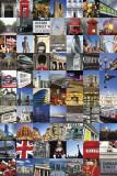 Collage med billeder fra London Plakater