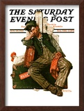 """Asleep on the Job"" Saturday Evening Post Cover, August 29,1925 Framed Giclee Print by Norman Rockwell"