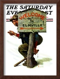 """Welcome to Elmville"" Saturday Evening Post Cover, April 20,1929 Framed Giclee Print by Norman Rockwell"