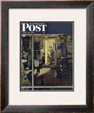 """Shuffleton's Barbershop"" Saturday Evening Post Cover, April 29,1950 Framed Giclee Print by Norman Rockwell"