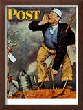 """""""First Flower"""" or """"First Crocus"""" Saturday Evening Post Cover, March 22,1947 Framed Giclee Print by Norman Rockwell"""