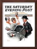 """Baby Carriage"" Saturday Evening Post Cover, May 20,1916 Framed Giclee Print by Norman Rockwell"