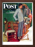 """Imperfect Fit"" Saturday Evening Post Cover, December 15,1945 Framed Giclee Print by Norman Rockwell"