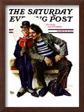 &quot;Plot Thickens&quot; Saturday Evening Post Cover, March 12,1927 Framed Giclee Print by Norman Rockwell
