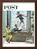 """""""Window Washer"""" Saturday Evening Post Cover, September 17,1960 Framed Giclee Print by Norman Rockwell"""