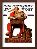 """Santa at His Desk"" Saturday Evening Post Cover, December 21,1935 Framed Giclee Print by Norman Rockwell"