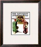 """First Day of School"" or ""Back to School"" Saturday Evening Post Cover, September 14,1935 Framed Giclee Print by Norman Rockwell"