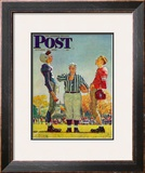 &quot;Coin Toss&quot; Saturday Evening Post Cover, October 21,1950 Framed Giclee Print by Norman Rockwell