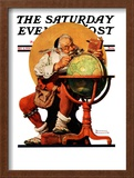 """Santa at the Globe"" Saturday Evening Post Cover, December 4,1926 Framed Giclee Print by Norman Rockwell"
