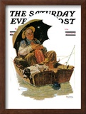 """Gone Fishing"" Saturday Evening Post Cover, July 19,1930 Framed Giclee Print by Norman Rockwell"