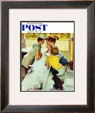 &quot;Soda Jerk&quot; Saturday Evening Post Cover, August 22,1953 Framed Giclee Print by Norman Rockwell