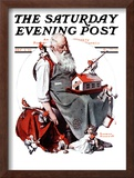 """Santa with Elves"" Saturday Evening Post Cover, December 2,1922 Framed Giclee Print by Norman Rockwell"