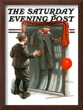 """""""Boy in Mirror"""" or """"Distortion"""" Saturday Evening Post Cover, August 13,1921 Framed Giclee Print by Norman Rockwell"""